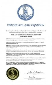 June 2-8 Proclaimed Fire and Emergency Medical Services